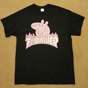 Tops - Black Thrasher Pig T-Shirt